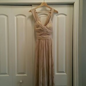 Gold/Shiny Gown w/Sheer Cutouts and Crossed Straps